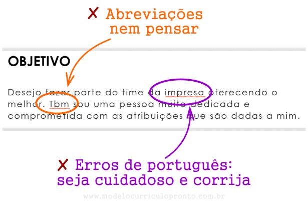 Cuidado com erros de português no currículo de primeiro emprego e abreviações
