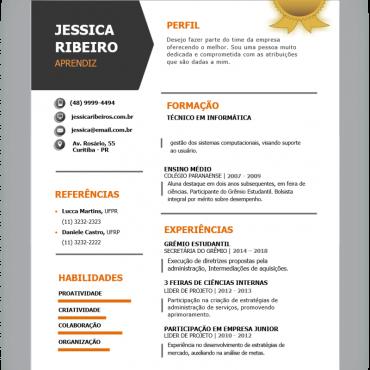 Modelo de Currículo Moderno para Primeiro Emprego